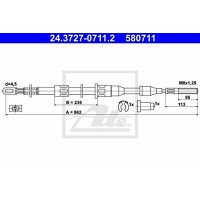 ATE 24.3727-0711.2 Ръчна спирачка,въжен механизъм