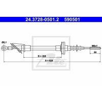 ATE 24.3728-0501.2   Clutch Cable