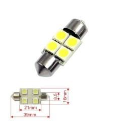 Akhan S39S4W -  White Festoon Lamp C5W 39mm 4 LED SMD license plate light , Interior lighting