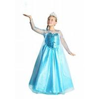 Рокля и тиара(корона) на Елза, Снежната кралица. Карнавален костюм за Момиче, Възраст: 8-10 години  (132 см)