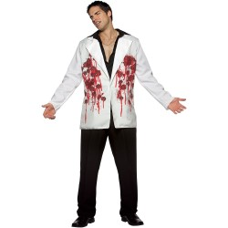 Черно бял блейзер надупчен от куршуми. Карнавален костюм за Мъж, Размер: Универсален