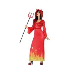 Червена рокля на дявол за жена. Карнавален костюм за Жена, Размер: S