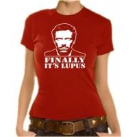 Дамска тениска с лика на Д-р Хаус и надпис на английски Най-накрая ,Лупус е