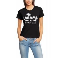 Дамска тениска с надпис на английски Маями - Плажен клуб