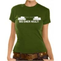 Дамска тениска с надпис на немски Докато един от нас изреве