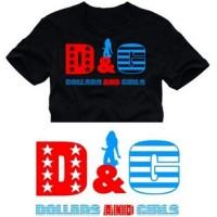 Мъжка тениска с надпис на английски D & G долари и момичета