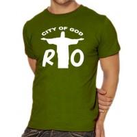 Мъжка тениска с надпис на английски РИО Градът на бог