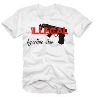 Мъжка тениска с надпис на английскиНезаконно от престъпната звезда