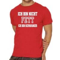 Мъжка тениска с надпис на немски Аз не сам дебела - Аз съм бременна
