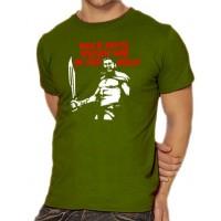 Мъжка тениска с надпис на немски Още днес ще обядваме в ада