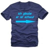 Мъжка тениска с надпис на немскиВярвам че той е гей